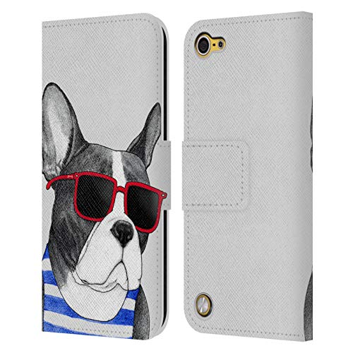 Head Case Designs Officially Licensed Barruf Frenchie Summer Style Dogs Leather Book Wallet Case Cover Compatible with Apple iPod Touch 5G 5th Gen