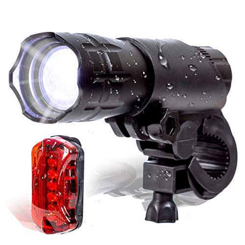 K-Brands Bike Light Set - Front and Back LED Headlight & Tail Light - Bright 200 Lumens Bicycle Flashlight Best Road Safety Lighting for Night Cycling - Fits All Bikes