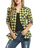 Zeagoo Femme Chemisier Longue à Carreaux à Manches Longues Blouse Top Shirt Tunique Classique,Jaune,Large