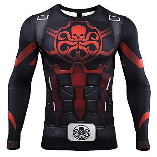 Captain America Hydra Camiseta de compresión de manga larga con impresión 3D para hombre -  Azul -  Small