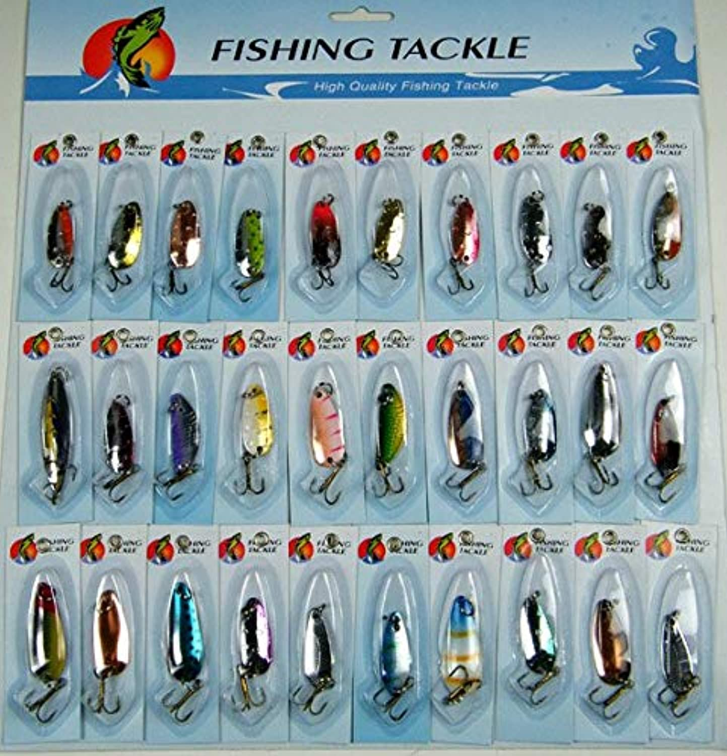 Generic Set Assorted Fishing Lures CrankBait Laser Spinners Spoon