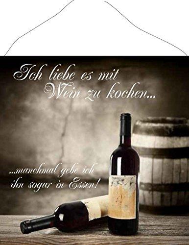 Creativ Deluxe Ich Liebe es mit Wein zu Kochen. - Küchendeko - Küchenschild - Türschild-hochglänzend und Kratzfest glänzend Vintage Schild Dekoschild Wandschild Nostalgie Holzschild Geschenk