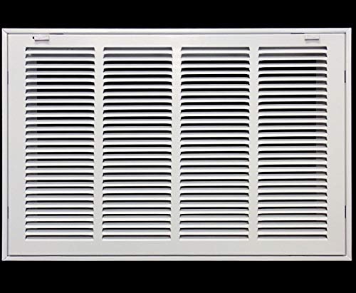 22' X 20' Steel Return Air Filter Grille for 1' Filter - Easy Plastic Tabs for Removable Face/Door - HVAC Duct Cover - Flat Stamped Face -White [Outer Dimensions: 23.75w X 21.75h]