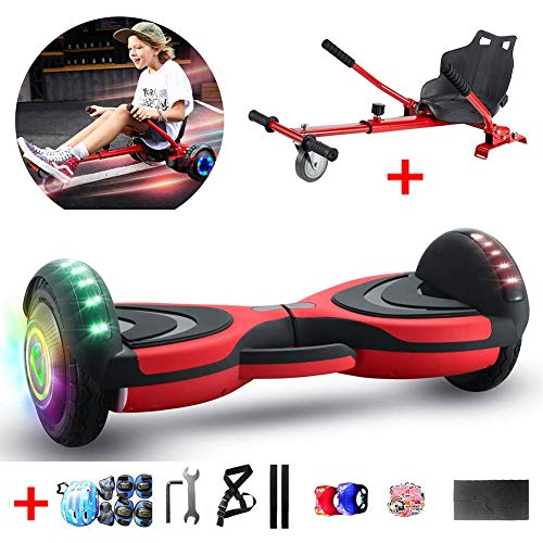 """QX Scooter 8"""" Self Balancing Electric Scooter with Hoverkart Go-Kart with Led Colorful Light, Best Gifts for Kids+ a Set of Protective Equipment,Red"""