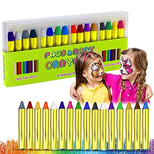 Face Paint Kits for Kids,Buluri 16 Colors Face Painting Crayons Safe & Non-Toxic Washable Face Body Makeup Set for Parties, Cosplay, Birthday and Festivals