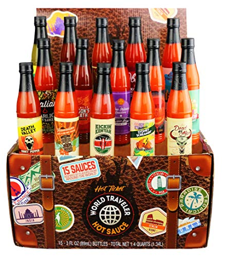 Thoughtfully Gifts, World Traveler Hot Sauce Gift Set, 3 Ounces Each, Includes 15 Exotic Flavors,...