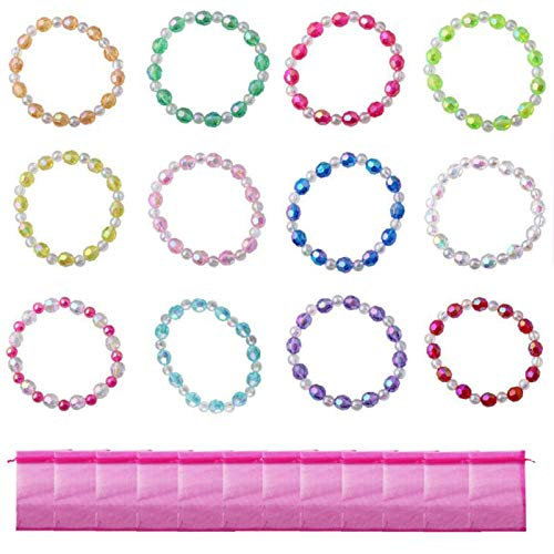 Candygirl Christmas Gifts Assorted 12pcs Plastic Iridescent Girls Bead Bracelet Kits For Girls Party Favors