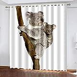 Salón Cortinas Opacas Koala grisCortinas Plisadas a Lápiz Cortinas Opacas de Reducción de Ruido para Dormitorio Sala de Estar Oficina del Hotel 183(W) x214(H) cm