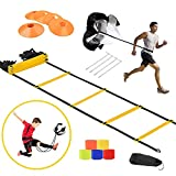 KIKILIVE Speed Agility Training Set, Exercise Equipment Kit for Soccer/Football- Premium Agility Ladder, Resistance Running Parachute, Sports Cones, Metal Pegs & Carrying Bag, Training Belt, Armband