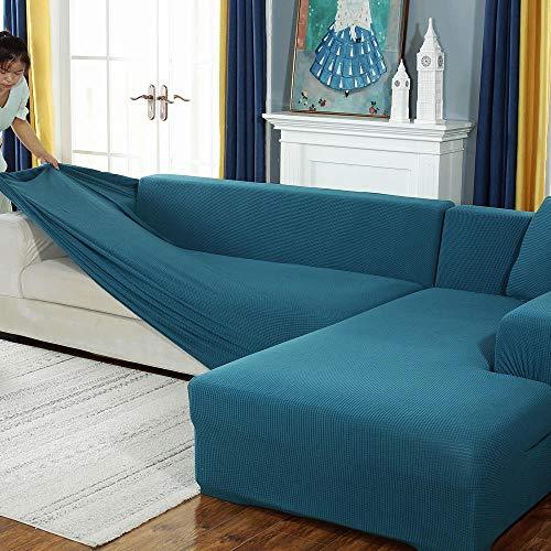 ABUKJM Sofa Überwurf Stretch Sofabezug Corn Grain Universal Sofabezug Staubschutz All-Inclusive Stretch Sofabezug Blau 4 Sitz 235~300Cm