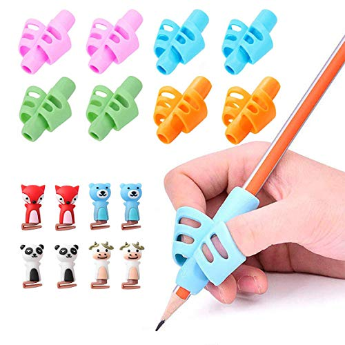 Pencil Grips, Pencil Holder for Kids and Adults, Silicone Pencil Grip Writing Aid Grip Trainer, School Supplies, Ergonomic Training Pen Grip Posture Correction Tool with 8 Clips (16 Pack)