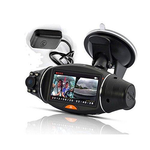 PolarLander R310 2,7 Pulgadas G-Sensor de visión Nocturna por Infrarrojos TFT LCD de Doble Lente GPS HD DVR Car Kit Vehículo cámara Dash CAM Video Recorder