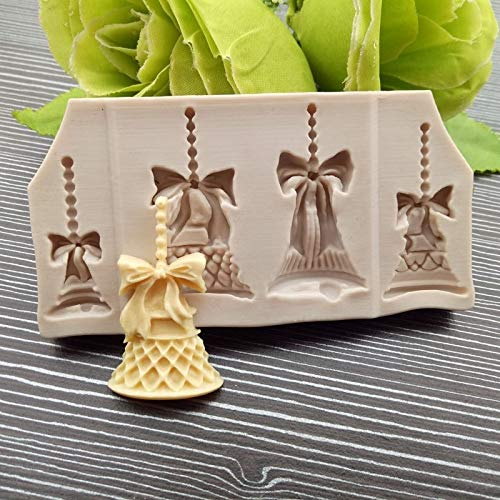 2 PCS Christmas Bells Praline Plätzchen Kuchen, Der Werkzeuge DIY Backen Fondant Food Grade-Silikon-Form (weiß) QiuGe (Color : White)