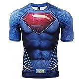 COOLMAX Raglan Short Sleeve Superman Mens Compression Shirt (Medium, Blue)