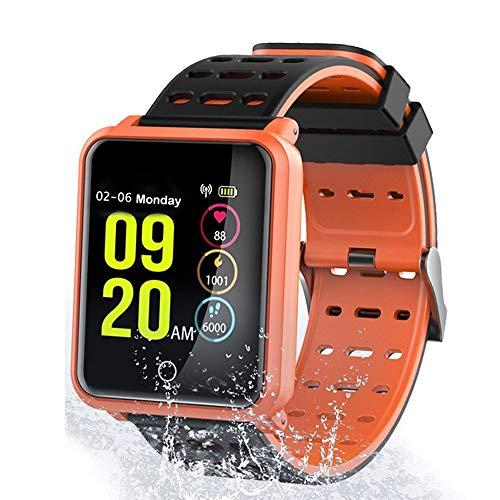 TagoBee TB06 IP68 Impermeabile Intelligente Orologio Fitness Monitor Pressione sanguigna frequenza cardiaca degli compatibili Android e iPhone (Arancione)