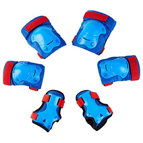 Skybulls キッズプロテクター 保護パッド スポーツプロテクター 子供用 安全 自転車 スケートボード ローラースケート キックバイク 手の甲/肘/膝 サポーター 6点セット収納袋付き