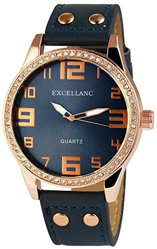 XXL Mujeres Reloj De Pulsera Azul Dorado Analógica Diamantes imitación Metal Cuero Cuarzo