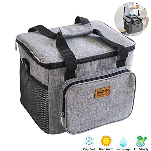 SFJRY® Kühltasche Kühlbox Gross Thermotasche Cooler Bag Thermo Tasche Lunchtasche Picknicktasche Isoliert Faltbar Für Lebensmitteltransport 31X25x22.5Cm, Grau