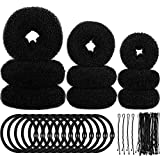 9 Pieces Donut Hair Bun Maker Shaper Foam Sponge Doughnut Bun Ring Style Set with 12 Pieces Hair Elastic Bands Ties and 32 Pieces Hair Bobby Pins for Women Girls Kids (Black)
