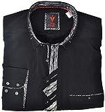 Leché Männerhemd für Top-Anlässe in Schwarz mit Brusttasche (S)