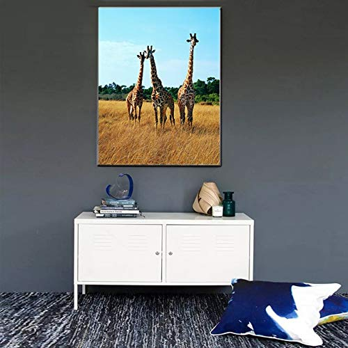 N / A Blue Sky Family Giraffe Canvas Painting Modern Fashion Animal Pictures Decorate Living Room Home Children\'s Room Frameless 50x70cm