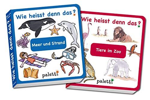 Wie heisst denn das? Kinderbücher 2er Set Pappbuch Tiere im Zoo und Meer und Strand