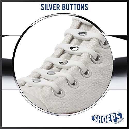 Shoeps Elastic Schnürsenkel, 14 teilig, White Silver Button