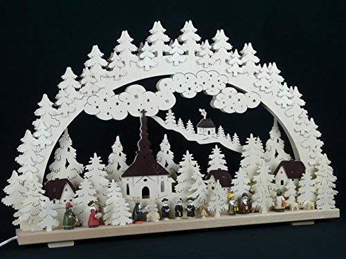 Verlichte kaarsboog met kerst- en lantaarnkinder grootte = 70x45cm NIEUW Ertsgebergte lichtboog