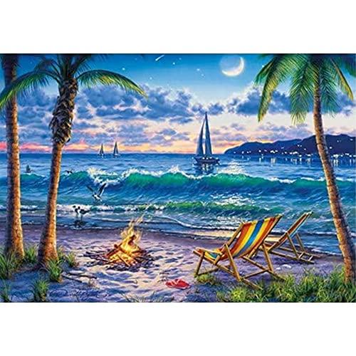 DIY 5D diamante pintura puesta de sol playa paisaje marino punto de cruz mosaico círculo completo diamante pintor decoración del hogar regalo A6 45x60cm