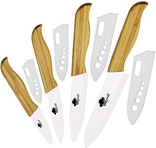 Couteaux en céramique Ensemble poignée en bambou blanc Lame de cuisine couteaux de cuisine Set 4 couteaux de cuisine + cou...