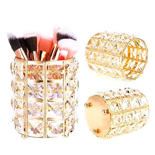 SUSSURRO Make Up Pinsel Aufbewahrung aus Kristall Speicherorganisator Eimer Lippenstift Augenbrauenstift Stift Container Pinsel Halter Kosmetik Organizer(Gold)