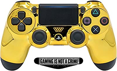 Gold Custom PS4 PRO Rapid Fire Custom Modded Controller 40 Mods for All Major Shooter Games & More, Custom LED (CUH-ZCT2U)