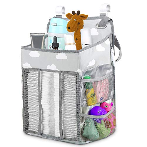 Nursery Organisers,Crib Nappy Organiser Hanging Diaper Caddy Stacker Organizer Holder Beside Storage Bag for Toys Diaper Nappies Towels Clothes - Grey