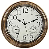 Yumt 12-Inch Wall Clock with Thermometer and Hygrometer Combo,Vintage Silent Non-Ticking Battery Operated Clock Wall Decorative- Bronze