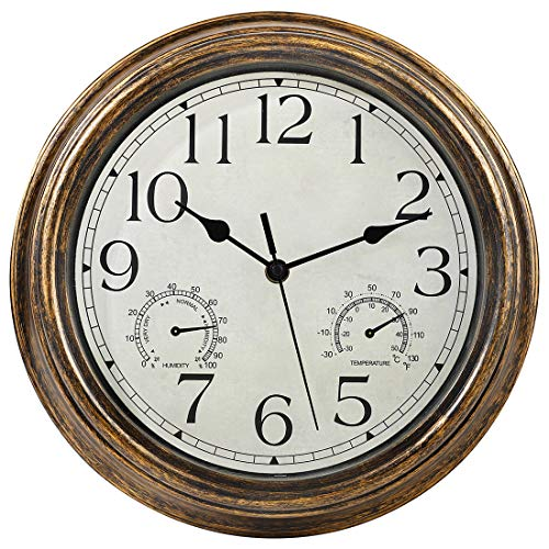 12-Inch Wall Clock with Thermometer and Hygrometer Combo,Vintage Silent Non-Ticking Battery Operated Clock Wall Decorative- Bronze