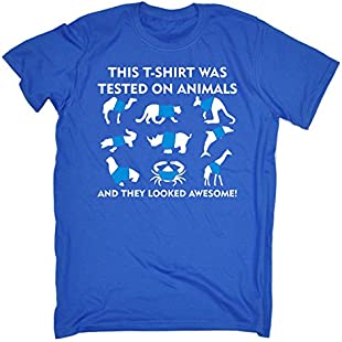 THIS SHIRT WAS TESTED ON AMINALS AND THEY LOOKED AWESOME (M - ROYAL BLUE) NEW PREMIUM LOOSE FIT T-SHIRT - slogan funny clothing joke novelty vintage retro t shirt top men's ladies women's girl boy men women tshirt tees tee t-shirts shirts fashion urban cool geek animal rights cute lover welfare kangaroo giraffe dolphin rhino son daughter day for him her brother sister mum dad mummy daddy father mother birthday ideas gifts christmas present gift S M L XL 2XL 3XL 4XL 5XL - by Fonfella