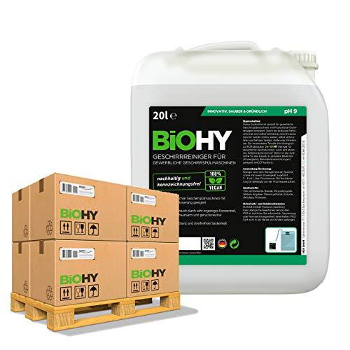 BiOHY Detergente para lavavajillas comercial (24 x Bote de 20 litros) | Fórmula para disolver el las grasas | Apto para gastronomía, industria y hogares (Geschirrreiniger)