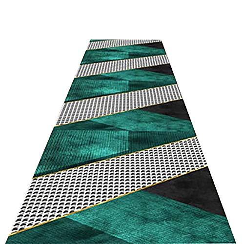 Tappeto Runner Tappeto da Corridoio Verde e Nero, Moderno Tappeto Antiscivolo, Lungo Tappeto da Passeggio Lavabile per Soggiorno Camera da Letto, 60/8