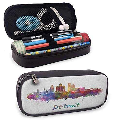 XCNGG Detroit High Capacity PU Leather Pencil Case, Artistic Skyline in Watercolor Splatters Colorful Grunge Look American Landmark Perfect Size Pouch for Stationery & Art Utensils Multicolor