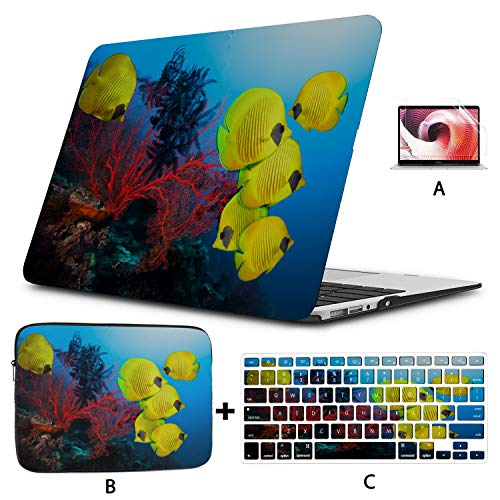 Mac 13 Inch Case Coral Reefs and Tropical Fish Mac Pro Laptop Case Hard Shell Mac Air 11'/13' Pro 13'/15'/16' with Notebook Sleeve Bag for MacBook 2008-2020 Version