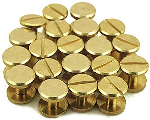 Chiloskit - 10 remaches de botón de latón de 6 mm con tornillo de cierre de tuerca, de cuero, latón y cobre, para manualidades, tornillos sólidos, remaches, doble cinturón de cabeza plana