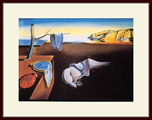 ダリ・「記憶の固執」 プリキャンバス複製画・ 額付き(デッサン額/大衣サイズ/セピア色)