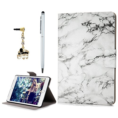 BADALink iPad Mini 1/2/3 Case,iPad Mini Cover,Soft PU Leather Ultra Slim Lightweight PC Bumper Marble Pattern Protective Cover with Stand/Auto Sleep Wake-up Function(White Marble)