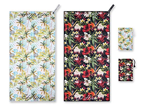 2 Gym Towels for Sports, Fitness, Yoga. Compact Travel, Hiking and Camping Towel. Premium Microfiber. Ultra Compact - Quick Dry - Bag and Glasses Pouch. 1 Tropical Flowers plus 1 Palm Beach Pattern
