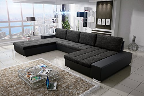 Sofa Couchgarnitur Couch Sofagarnitur Verona U Polstergarnitur Polsterecke Wohnlandschaft mit Schlaffunktion (Soft 11/Nevada 10 Links)