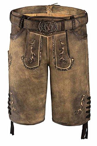 Spieth & Wensky MOSER Trachten Lederhose kurz mit Gürtel braun antik Gino 004594, Material Leder, Größe 46