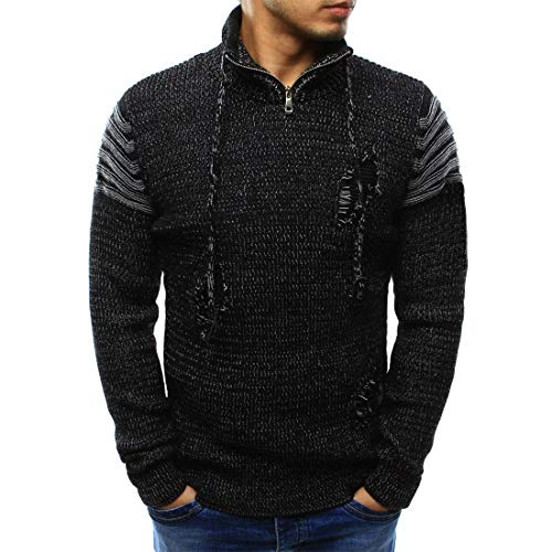 NLZQ Mens 1/4 Zip Stand-up Collar Knitted Sweater Solid Color Patches Pullover Long Sleeve Slim Fit Comfortable Casual top and Winter All-Match Fashion Casual Sweatshirt XL