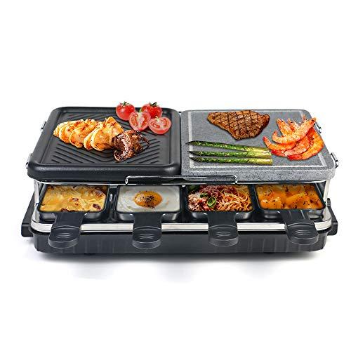 HengBO Raclette Grill con Piedra Natural y Placa Raclette 8 Personas 2-IN-1 Grill, Termostato Regulable, Antiadherente, Incluye 8 Mini-Sartenes y 4 Espátulas - 1300W, Negro