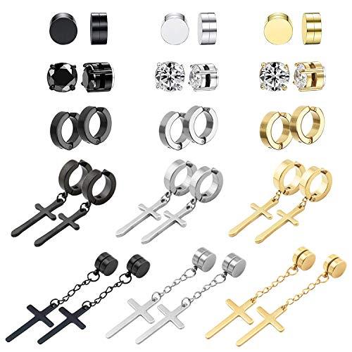 NEWITIN 15 Pairs Magnetic Stud Earrings Stainless Steel Magnet Earrings Clip on Earrings Non Piercing Earrings CZ Hoop Dangle Cross Magnetic Earrings for Men and Women