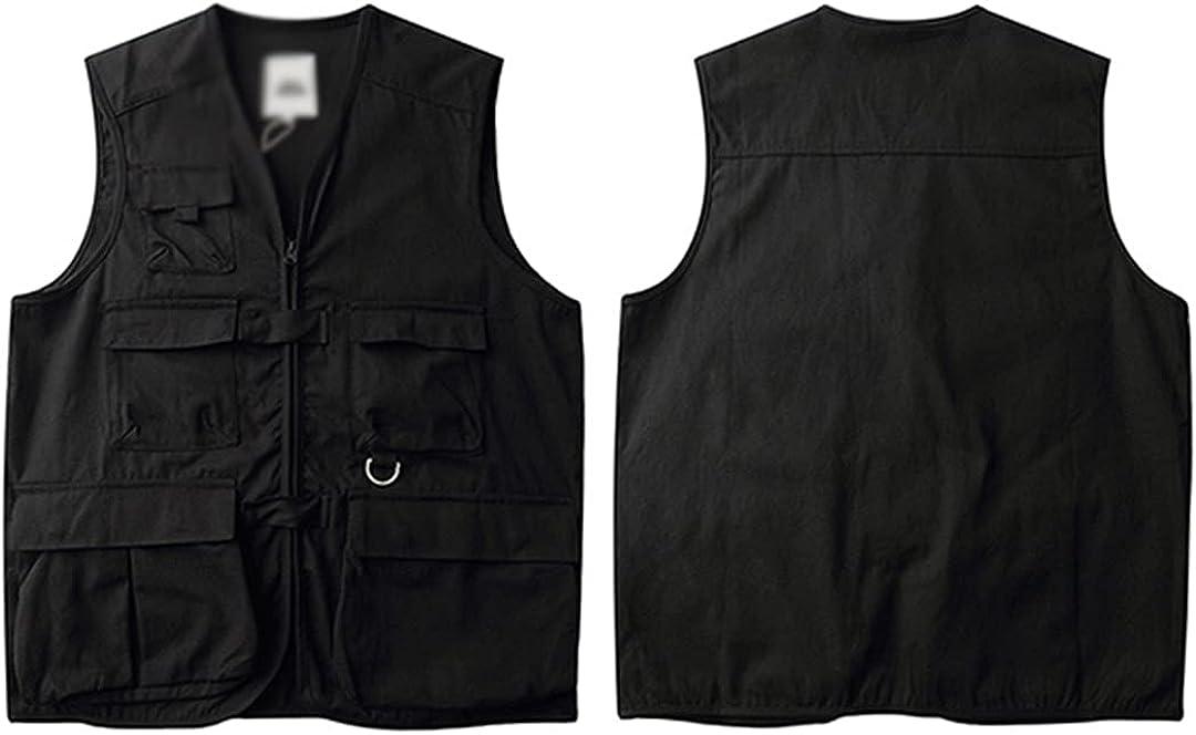 Men's Sleeveless Jacket Military Tactical Vest Multi-Pocket Hip-Hop Vest Japanese Style